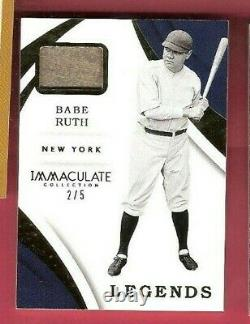 Babe Ruth Game A Utilisé Jersey Card #d 2/5 2018 Immaculate Legends New York Yankees