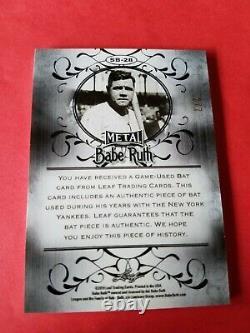 Babe Ruth Game Used Bat Card #d2/7 Leaf Metal Refractor #sb28 New York Yankees