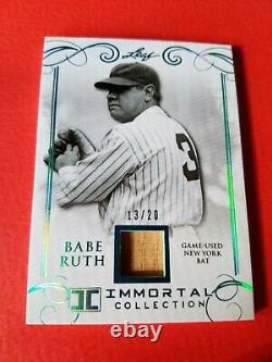 Babe Ruth Game Utilise Bat Card #d13/20 Leaf Immortal #yb-03 New York Yankees