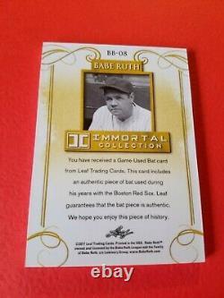 Babe Ruth Game Utilise Bat Card #d3/5 1 De 1 Leaf Immortal Gold #bb08 Yankees Sox