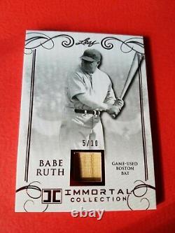 Babe Ruth Game Utilise Bat Card #d5/10 Leaf Immortal #bb-23 New York Yankees