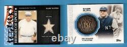 Babe Ruth Heritage Jeu D'occasion Bat Card & 2013 Topps Metal Ring Carte Fabriquée