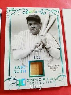 Babe Ruth Jeu Utilisé Bat Card #d3/20 1 Of 1 Mickey Mantle Jersey Roger Maris Bat