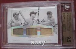 Babe Ruth / Lou Gehrig / Bob Meusel Panini Flawless 9.5 Bgs Jeu Utilisé Jersey / Chauve-souris