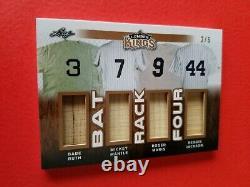 Babe Ruth Mickey Mantle Roger Maris Reggie Jackson Jeu Utilisé Bat Card #d2/6 Leaf