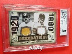 Babe Ruth & Roger Maris Jeu D'occasion Jersey & Bat Card Graded Bgs 8 Nm Mint Yankees