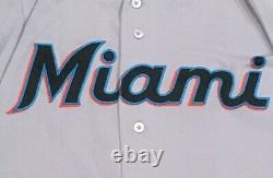 Chad Wallach Taille 46 #17 2019 Miami Marlins Jeu Utilisé Jersey Route Grise Mlb Holo