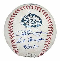 Chipper Jones Jeu Signé Utilisé Baseball De Sa Carrière Finale 2012 Jeu Adn Psa