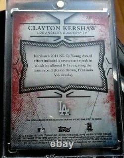 Clayton Kershaw Rare 1/1 2015 Topps Jeu Utilisé Bat