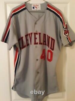 Cleveland Indians Bud Black 1990 Jeu Utilisé Jersey Chef Wahoo Rockies