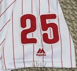 Cozens Taille 50 #25 2019 Philadelphia Phillies Home White Jeu Utilisé Jersey Mlb
