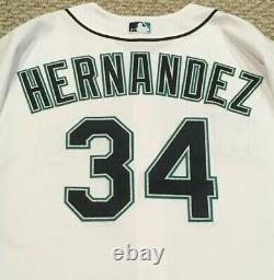 Felix Hernandez #34 Taille 48 2017 Seattle Mariners Jeu Utilisé Jersey Numéro 40 Mlb