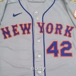 Hamilton #42 2020 Jackie Robinson Mets Jeu Utilisé Jersey Issue Route Gris Mlb Holo