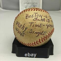 Incredible Johnny Pesky Game Winning Hit Game Used Baseball From June 18, 1947