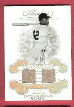 Jackie Robinson 2 Jeu Utilisé Jersey Card #d23/25 2019 Flawless Legendary Dodgers