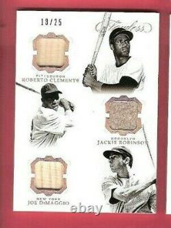 Jackie Robinson Roberto Clemente Joe Dimaggio Jeu Utilisé Bat Jersey Card Flawless