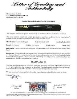 Jeu Dustin Pedroia Utilisé 2008 Batte De Baseball! Mvp Saison! Rare! Psa 10 Loa