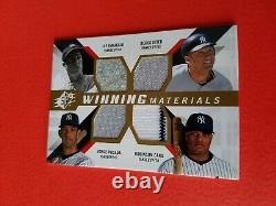 Joe Dimaggio Derek Jeter Jorge Posada Rob Cano Jeu Utilisé Jersey Card Yankees Spx