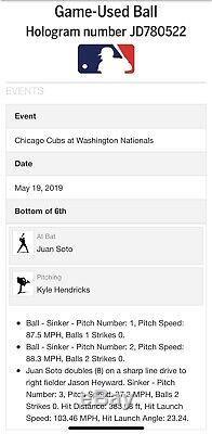 Juan Soto Mlb Double Jeu Utilisé Sweet Spot Signed Baseball 19/05/19 Carrière # 33
