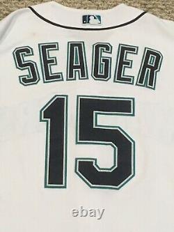 Kyle Seager Taille 46 #15 2016 Seattle Mariners Jeu Utilisé Jersey Maison Blanc Mlb