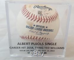 Lie Albert Pujols Ted Williams Dans Les Coups! Jeu Utilisé Seul Baseball Mlb Auth'd