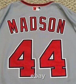 Madson Taille 50 #44 2018 Washington Nationals Jeu Utilisé Jersey Route Grise Avec Utilisation