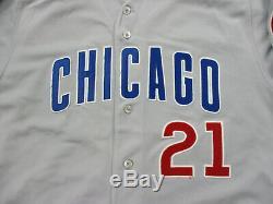Majestic Sammy Sosa Chicago Cubs Baseball Jersey Grey Road Jeu Utilisé Publié Worn