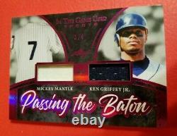 Mickey Mantle & Ken Griffey Jr Jeu Utilisé Jersey Card #d3/4 2020 Leaf Itg Yankees