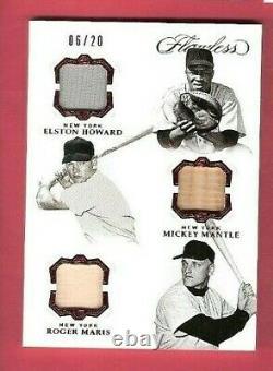 Mickey Mantle Roger Maris Elston Howard 3 Jeu Utilisé Bat Jersey Card #20 Flawless