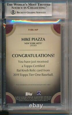 Mike Piazza 1/1 Mets 2019 Tier One Jeu Topps Utilisé Bat Bouton Relic Bgs 9