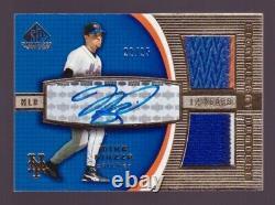 Mike Piazza Autograph Patch / 25 Jeu Sp 2004 Utilisé Dual Jersey Auto New York Mets