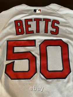Mookie Betts 2019 #50 Game Used Jersey (red Sox) Mlb Authentifié