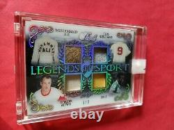 Muhammad Ali Pele Ted Williams Gordie Howe Jeu Utilisé Jersey Card #6/9 Leaf Pearl