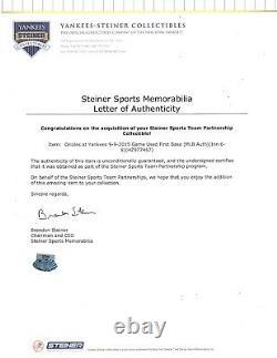 New York Yankees Baltimore Orioles Jeu Utilisé 9/9/2015 Mlb Base Steiner Authentic