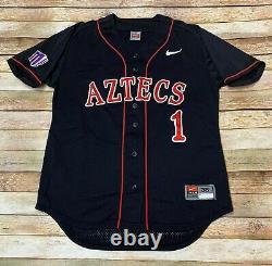 Nike San Diego État Aztèque Équipe Numéro #1 Jeu Jersey Ncaa Baseball Sz 38 Sm Med