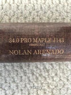 Nolan Arenado Jeu Utilisé Nom Plaqué Chauve-souris