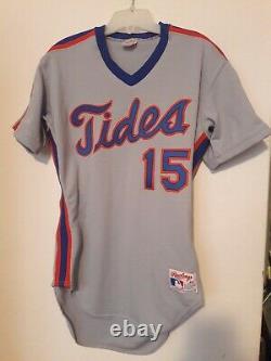 Ny Mets 1989 Aaa Tidewater Tides Tom O' Malley Jeu Utilisé Away Jersey 15 Team Coa