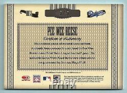 Pee Wee Reese 2005 Timeless Treasures Hof Jeu Used Jersey Bat Cut Autograph 5/5