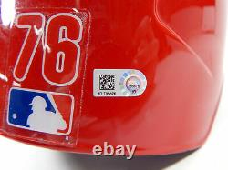 Phillies De Philadelphie 2019 #76 Jeu Émis Pos Red Batting Casque D'occasion Dp06753