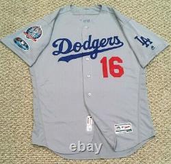 Postseason Geren Taille 48 #16 2018 Los Angeles Dodgers Jeu Utilisé Jersey Mlb Holo