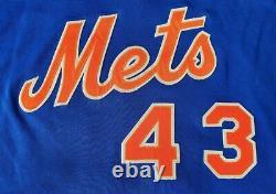 Rare 1983 Blue Alternate Terry Leach New York Mets Jeu Utilisé Porté Signé Jersey