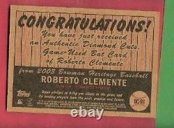 Roberto Clemente Jeu Utilisé Bat Card 2003 Topps Diamond Cuts Pittsburgh Pirates