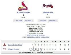 Ronald Acuna Mlb Jeu Utilisé Baseball Braves 9/18/18 Final Rookie Hr #26 Ab Nl Roy