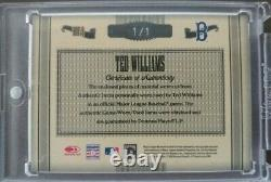 Ted Williams 2005 Trésors Sans Pareil Jeu D'autos D'occasion Jersey Bat 1/1 Redsox Hof