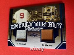Ted Williams Bobby Orr Jeux Utilisés Jersey Card #d18/25 Leaf Itg Red Sox Bruins
