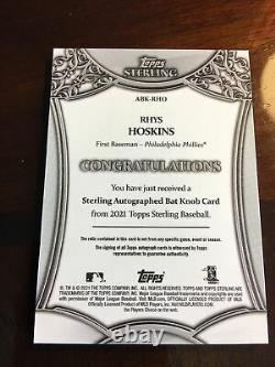 Topps Sterling 2021 Rhys Hoskins Jeu Utilisé Bat Knob Auto 1/1 Phillies