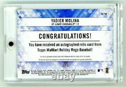 Topps Vacances 2018 Yadier Molina Jeu Utilisé Patch Auto 3/3 1/1 Cardinals Rare Ssp