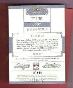 Ty Cobb 2012 National Treasures Game Used Bat Card #d97/99 Detroit Tigers