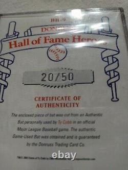 Ty Cobb Authentique Carte De Chauve-souris Utilisée Par Le Jeu Et D'autres You Pick Gary Sheffield. De Plus,